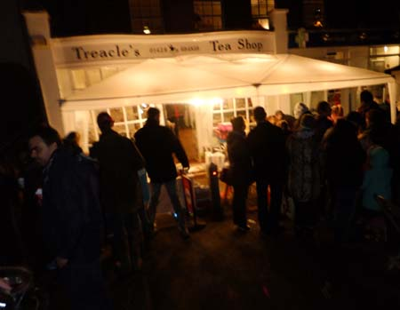 Treacles Tea Shop at night