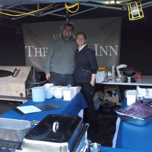 Staff from The Swann Inn at the pig roast