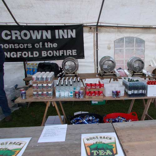 Crown Inn beer tent showing beer barrels etct