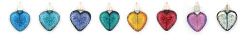 Line of glass hearts various colours