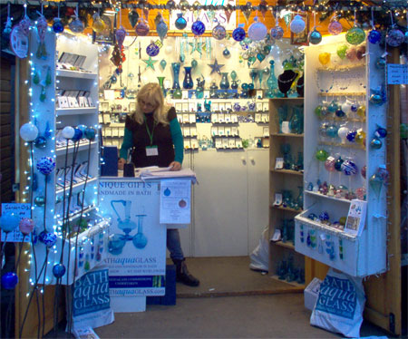 Bath Aqua Glass  at Winchester   Stall selling glass