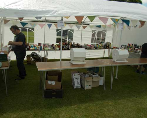 Setting up Tombola stall
