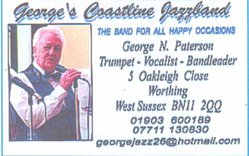Georges Coastline Jazz Band bussiness card