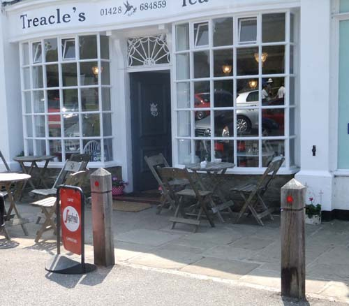 Outside Treacle's Tea Shop with tables and chairs